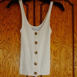 American Eagle Off White Button Up Sweater Tank